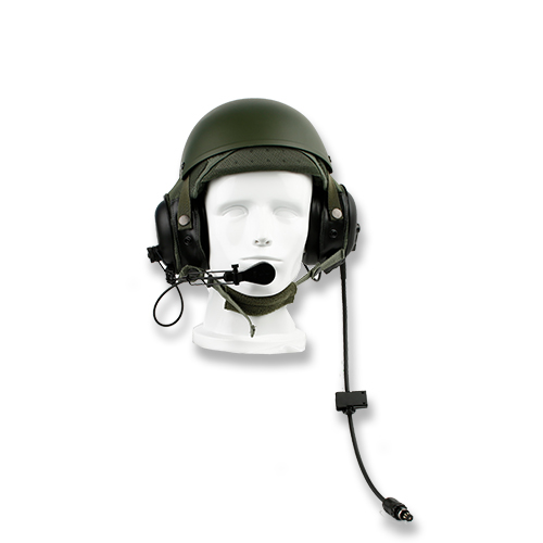 Combat vehicle crewman helmet headset